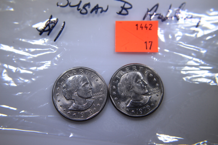 2- susan B Anthony Dollars 2 Susan B Anthony Quaters