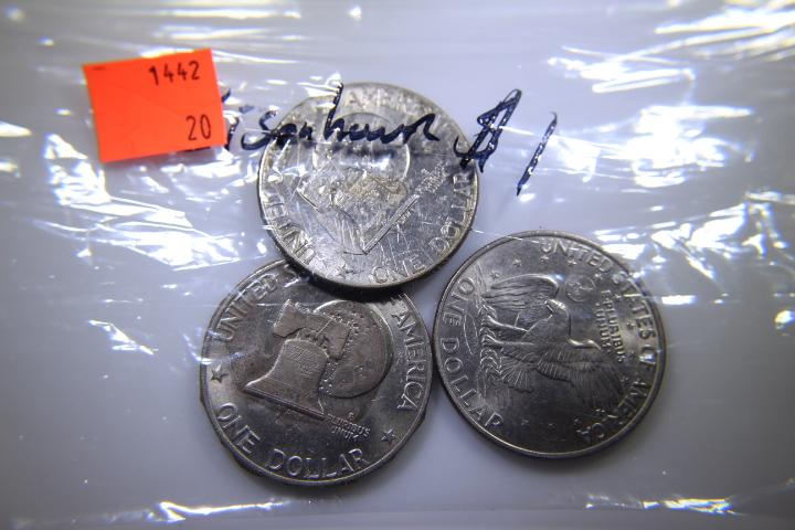 3- Eisenhower Dollars 1-1971 Good Shape 2-1776-1976 Looks like it has Apoxy on it
