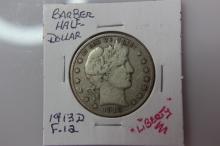 1913 D F-12 Barber Half Dollar