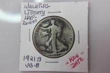 1921 S   VG-8 Walking Liberty Half Dollar KEY DATE 1921 S   VG-8 Walking Liberty Half Dollar KEY DATE  Coin Facts: Q. David Bowers (edited and updated by Mike Sherman): In 1916 the design of Adolph A. Weinman was selected for the new half dollar motif