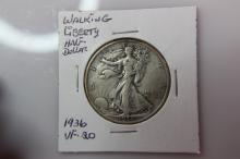 1936  VF-20 Walking Liberty Half Dollar 1936  VF-20 Walking Liberty Half Dollar  Coin Facts: Q. David Bowers (edited and updated by Mike Sherman): In 1916 the design of Adolph A. Weinman was selected for the new half dollar motif to replace the Barber
