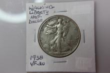 1938   VF-20 Walking Liberty Half Dollar 1938   VF-20 Walking Liberty Half Dollar  Coin Facts: Q. David Bowers (edited and updated by Mike Sherman): In 1916 the design of Adolph A. Weinman was selected for the new half dollar motif to replace the Barb