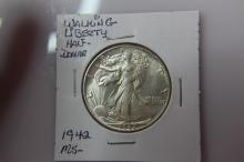 1942 MS Walking Liberty Half Dollar 1942 MS Walking Liberty Half Dollar  Coin Facts: Q. David Bowers (edited and updated by Mike Sherman): In 1916 the design of Adolph A. Weinman was selected for the new half dollar motif to replace the Barber design