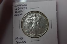 1943 AU 55 Walking Liberty Half Dollar 1943 AU 55 Walking Liberty Half Dollar  Coin Facts: Q. David Bowers (edited and updated by Mike Sherman): In 1916 the design of Adolph A. Weinman was selected for the new half dollar motif to replace the Barber d