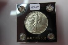 1945 MS++ Walking Liberty Half Dollar W/ Holder 1945 MS++ Walking Liberty Half Dollar with Capital Black Holder Price on Holder is 5.00  Coin Facts: Q. David Bowers (edited and updated by Mike Sherman): In 1916 the design of Adolph A. Weinman was sele
