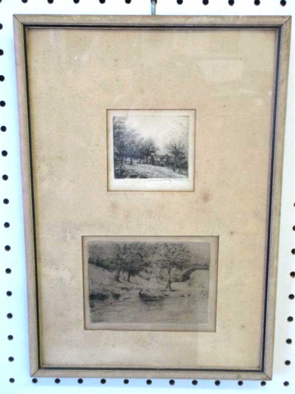 MOSES HYMAN - 2 SIGNED LANDSCAPE ETCHINGS