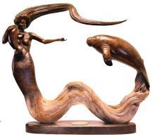 Mermid & Manatee Sculpture