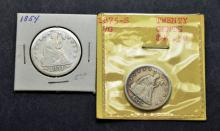 US Silver 1875 S Twenty Five Cent Seated Liverty Silver Coins