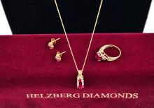 14K Gold Ruby Necklace & Pendant, Earrings & Ring