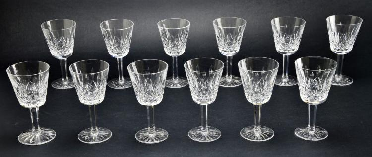 Set of 12 Waterford Stemware Crystal Lismore Glasses