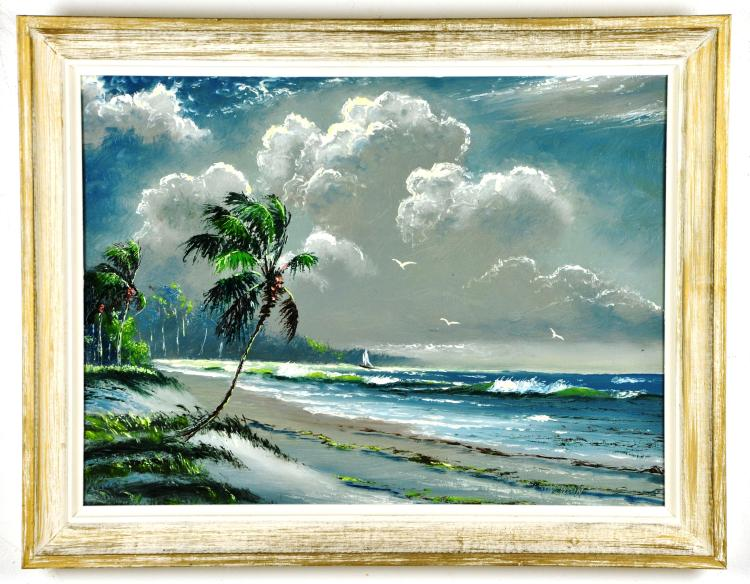 Original Oil on Board, by Listed Artist, Sam Newton, Original Highwaymen, Florida Landscape