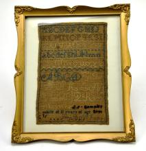 Framed Alphabet Cross Stitched Embroidery Sampler, Dated 1823