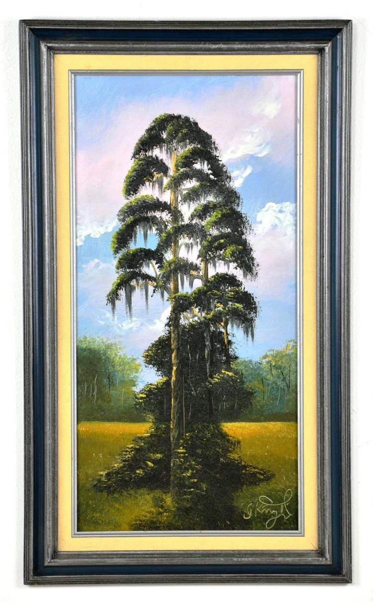 Original Oil on Board, by Listed Artist, Isaac Knight, Original Highwaymen, Florida Landscape