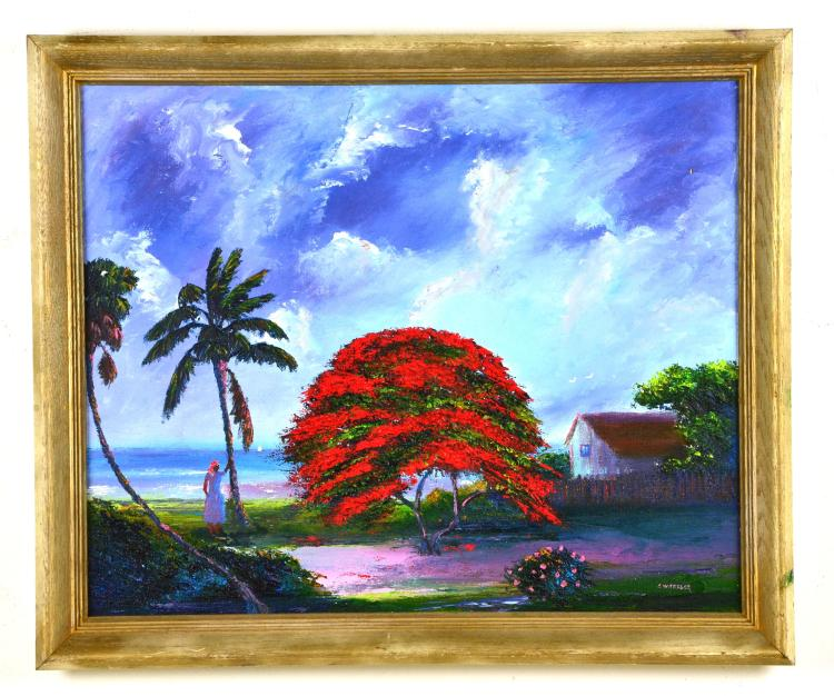 "Oil on Board, by Listed Artist, Charles ""Chico"" Wheeler, Original Highwaymen, Florida Landscape"
