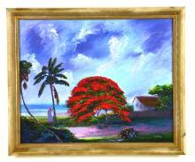 "Oil on Board, by Listed Artist, Charles ""Chico"" Wheeler, Original Highwaymen, Florida Landscape"