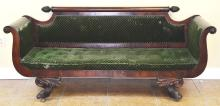 Antique Wood Carved Claw Foot Scroll Backed Parlor Sofa Couch Settee