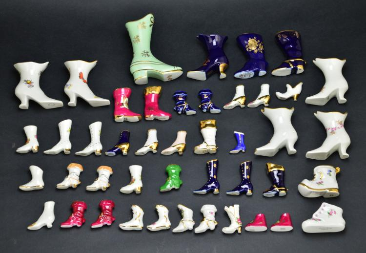 Limoges France 44 Miniature Porcelain Boots