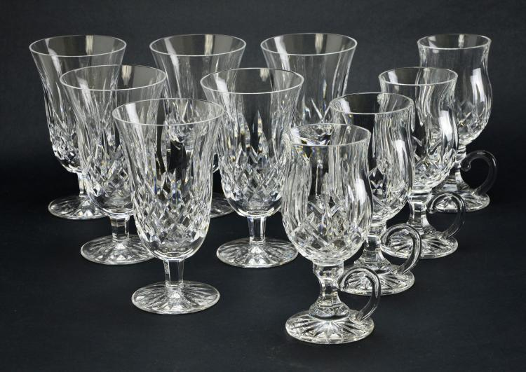 Set of 10 Waterford Stemware Crystal Lismore Iced Tea and Irish Coffee Mugs
