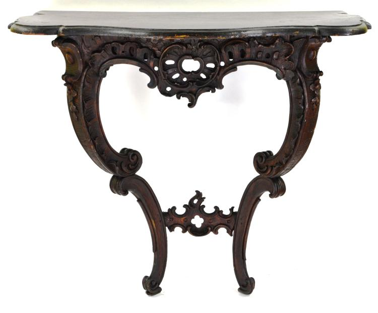 Ornately Carved Wood Floral Wall Mount Table