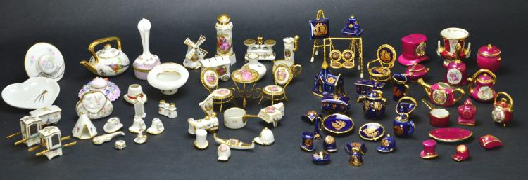 Limoges France 73 Pieces of Porcelain Miniatures