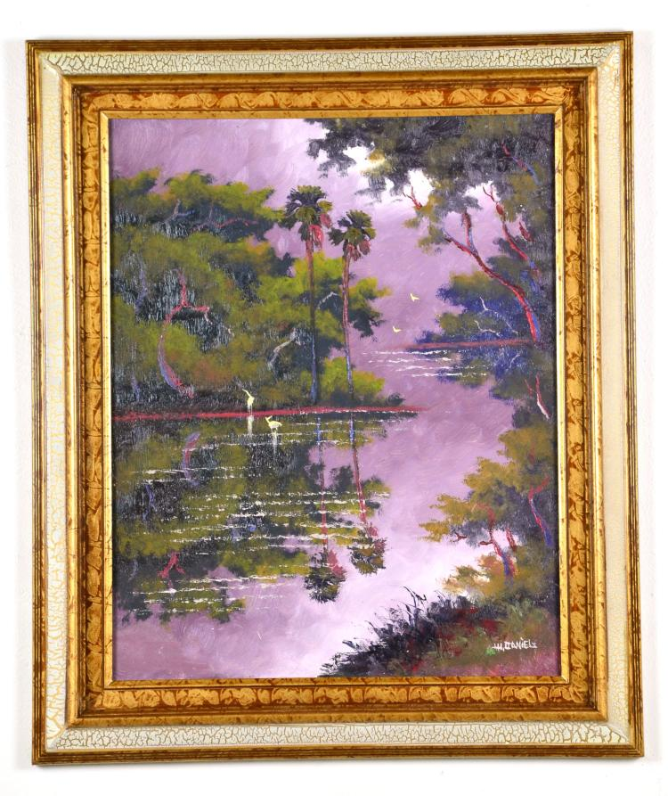 Original Oil on Board, by Listed Artist, Willie Daniels, Original Highwaymen, Florida Landscape