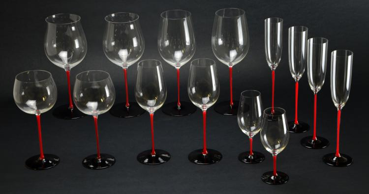 Set of 14 Riedel Crystal Sommeliers Black Tie Series - Riedel Stemware Wine Glasses