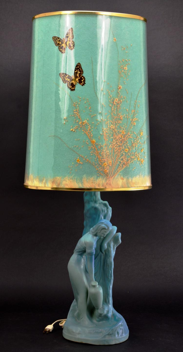 "Vintage Van Briggle Pottery ""Rebecca at the Well"" Aqua Blue Lamp with Original Butterfly Shade"
