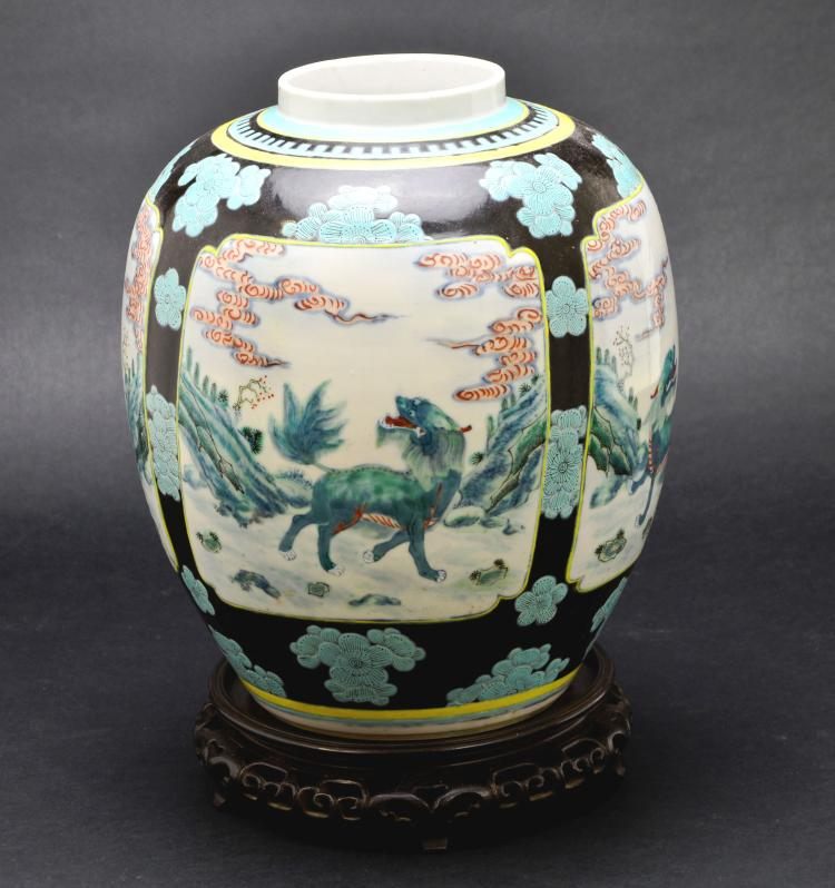 19th Century Chinese Famille Verte Porcelain Jar or Vase with Painted Foo Dog Lions & Landscape