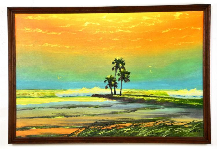 "Oil on Board, by Listed Artist, Livingston ""Castro"" Roberts, Original Highwaymen, Florida Landscape"