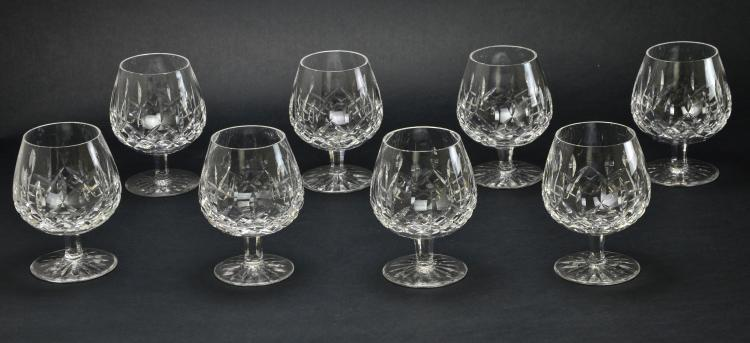 Set of 8 Waterford Stemware Crystal Lismore Large Brandy Glasses