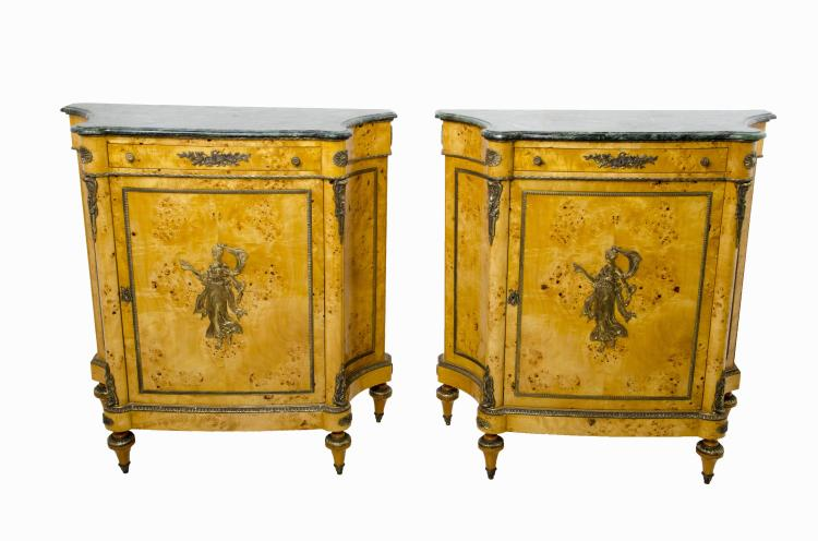 Pair of Matching French Style Marble Top Commode Side Cabinets