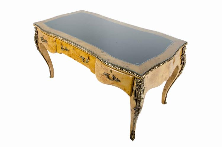 Vintage French Style Leather Top Writing Desk w/ Gold Ormolu Accents