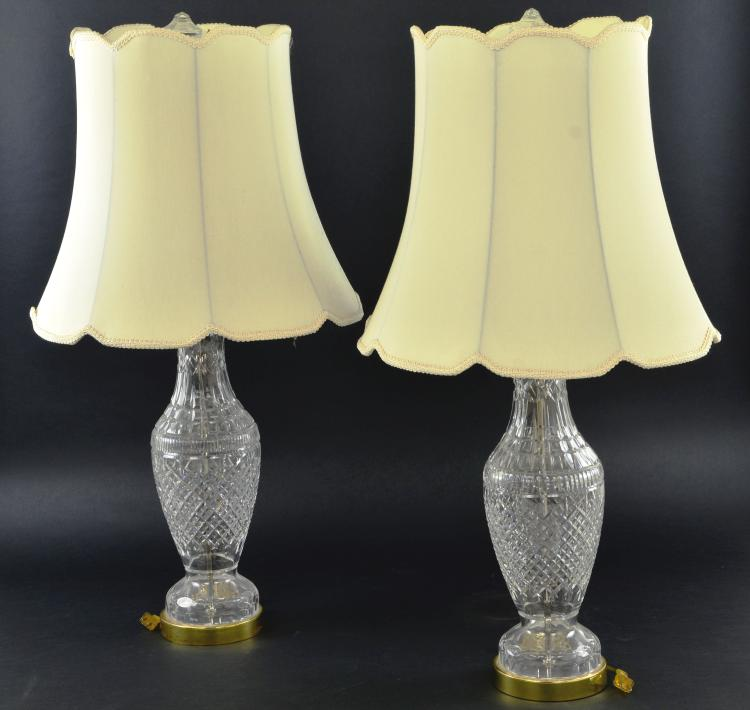 Pair of Waterford Crystal Table Lamps with Shades