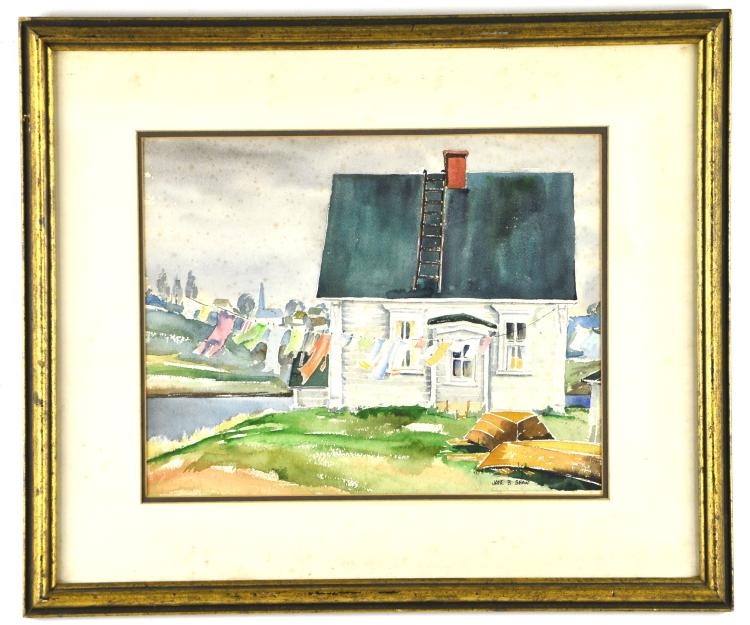 "Original Watercolor ""Windy Day"" by Listed Artist Jane B Shaw"