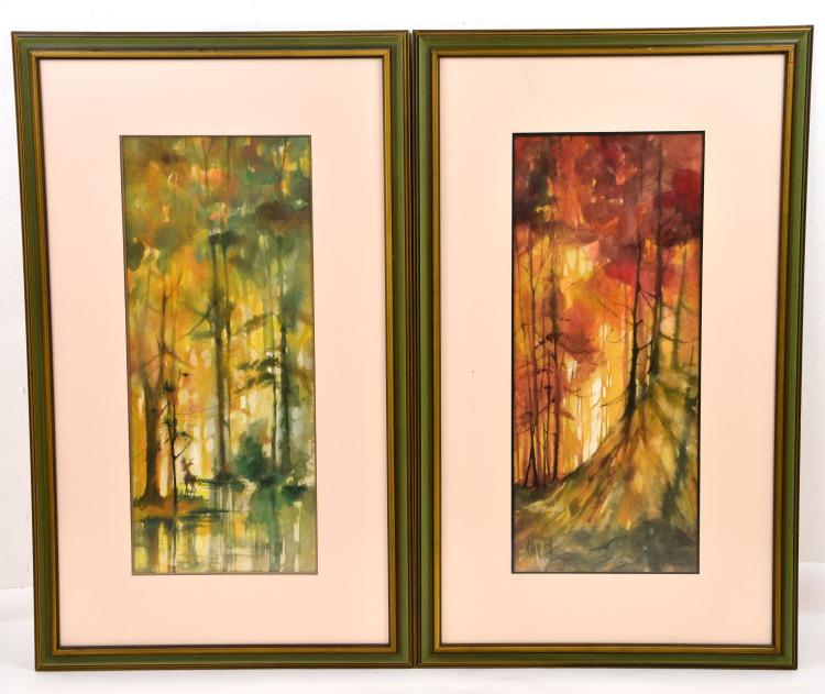 "Pair of Watercolors on Rice Paper ""Autumn Splendor"" by Listed Artist M. Beverly Bunn"