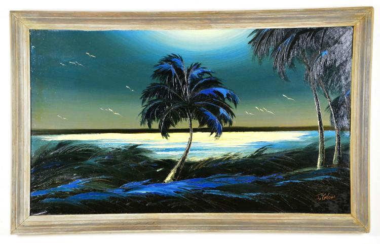 Oil on Board, by Listed Artist, James Gibson, Original Highwaymen, Florida Landscape, C. 1980