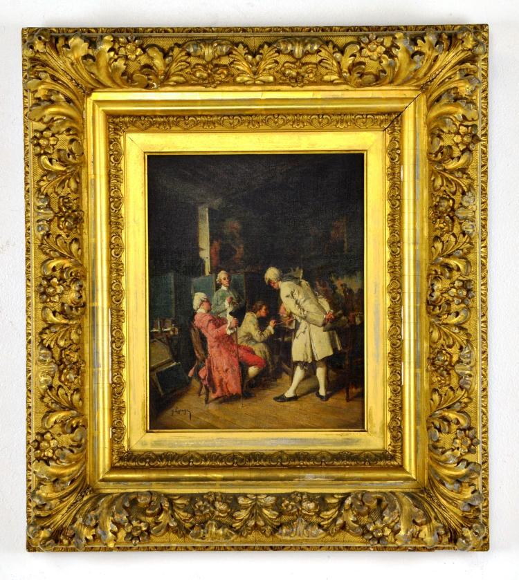Antique Oil on Canvas, Listed Artist, J. Lepage