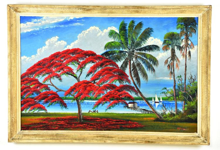 Original Oil on Board, by Listed Artist, Mary Ann Carroll, Original Highwaymen, Florida Landscape