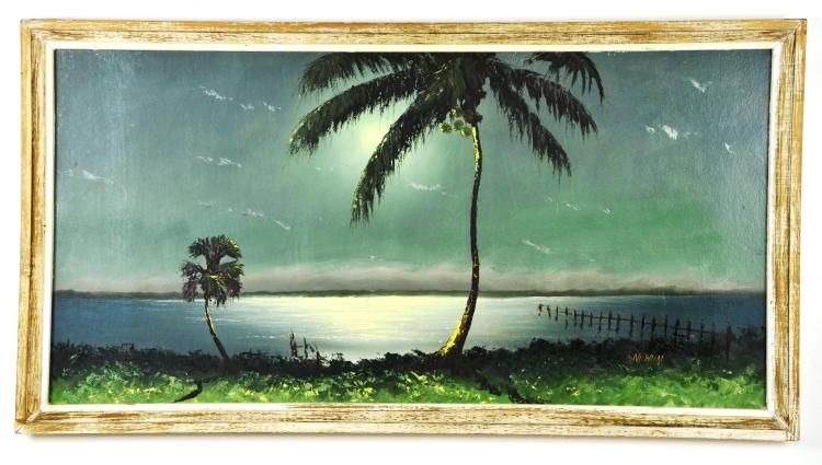 Oil on Board, by Listed Artist, Sam Newton, Original Highwaymen, Christmas, 1969, Miami Beach