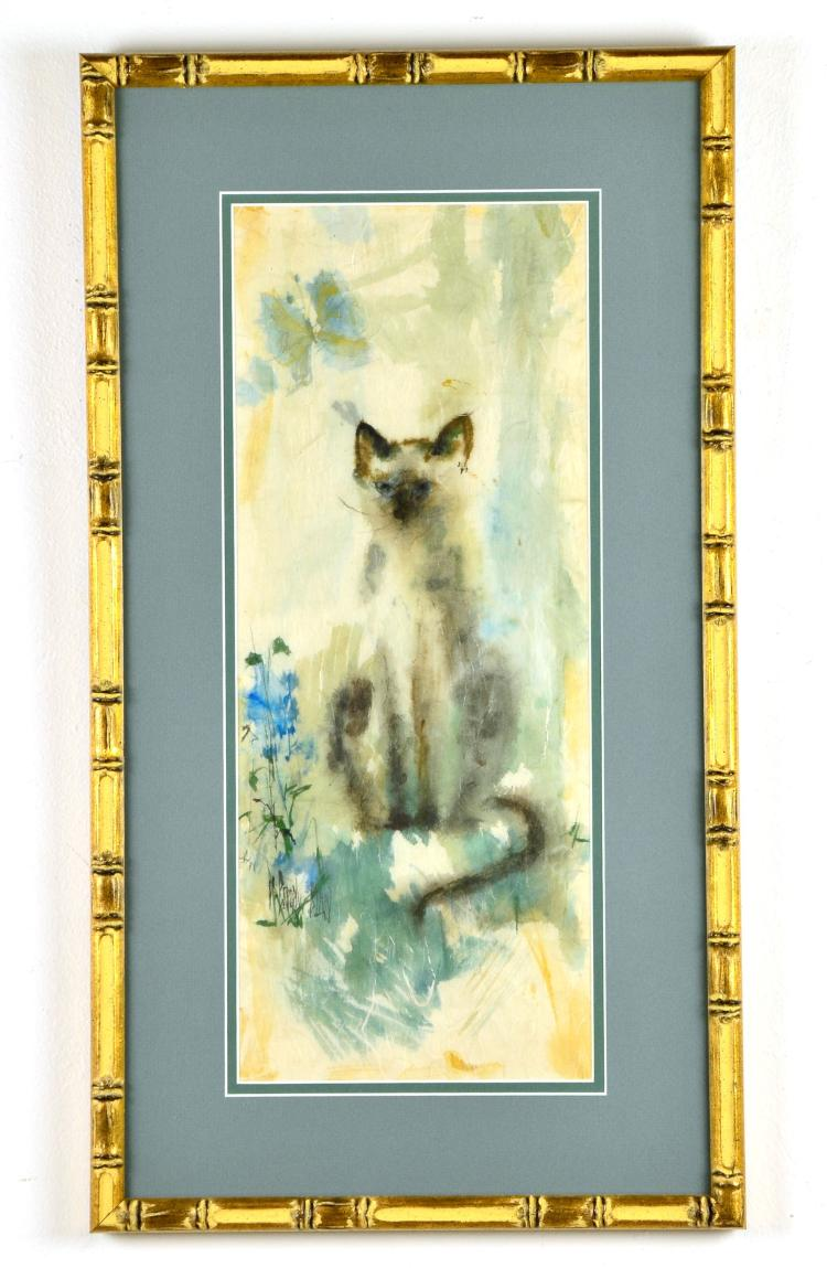 "Watercolor on Rice Paper ""Curiosity"" Feline Cat by Listed Artist M. Beverly Bunn"