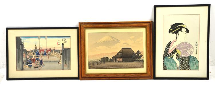 Lot of 3 Vintage Japanese Wood Block Prints, Hasui Kawase