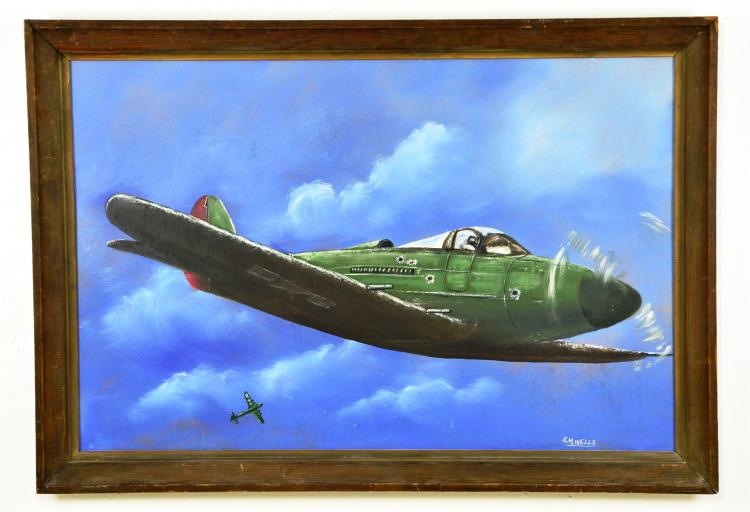 "Tribute to Tuskegee Airmen, Oil on Board, by Listed Artist, S. M. ""Sylvester"" Wells, Highwaymen"