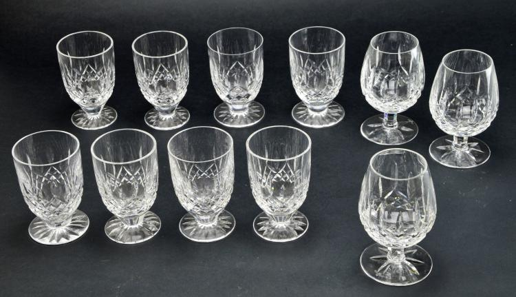 Set of 11 Waterford Cocktail & Double Old Fashioned Crystal Lismore Glasses