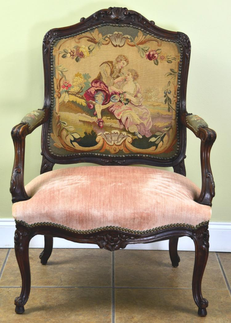 Antique Wood Carved and Figural Needle Point Parlor Chair