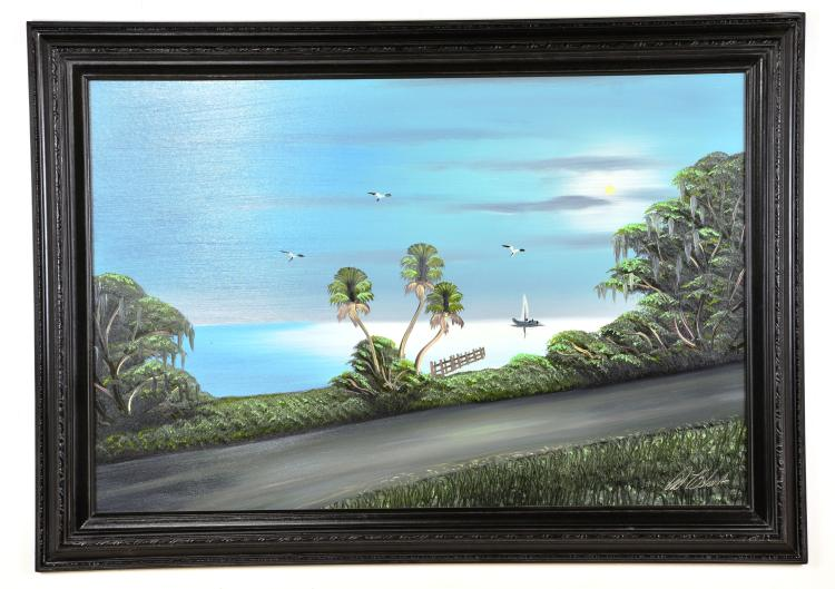 "Oil on Board, by Listed Artist, Al ""Young Blood"" Black, Original Highwaymen, Florida Landscape"