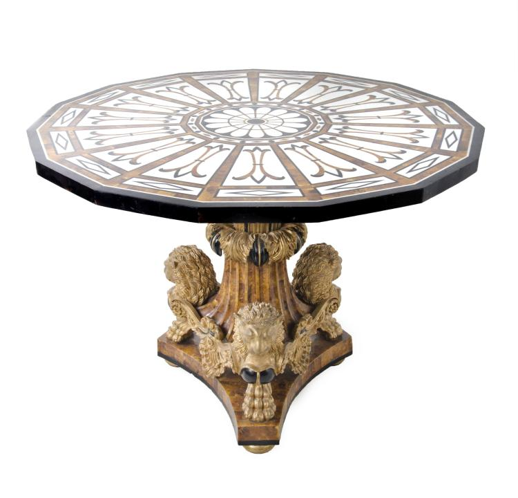 Vintage 16 Sided Round Table w/ Inlay & Gold Leaf Lion Accents