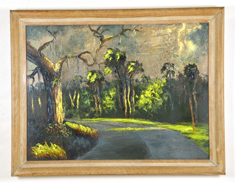 C. 1950 Oil on Board, by Listed Artist, Harold Newton, Original Highwaymen, Florida Landscape