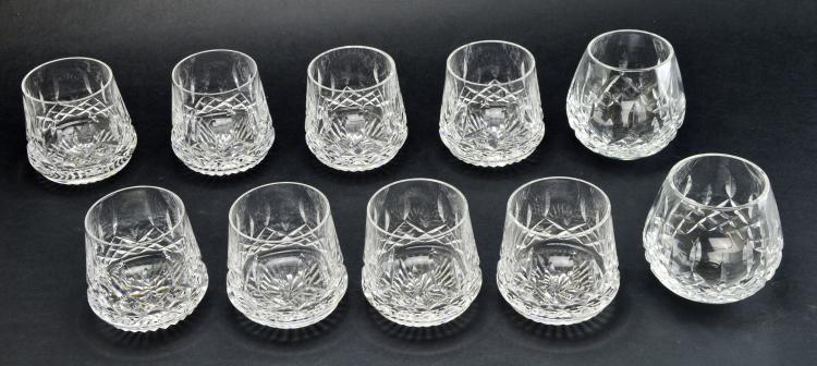 Set of 10 Roly Poly Waterford Cocktail Crystal Lismore Glasses