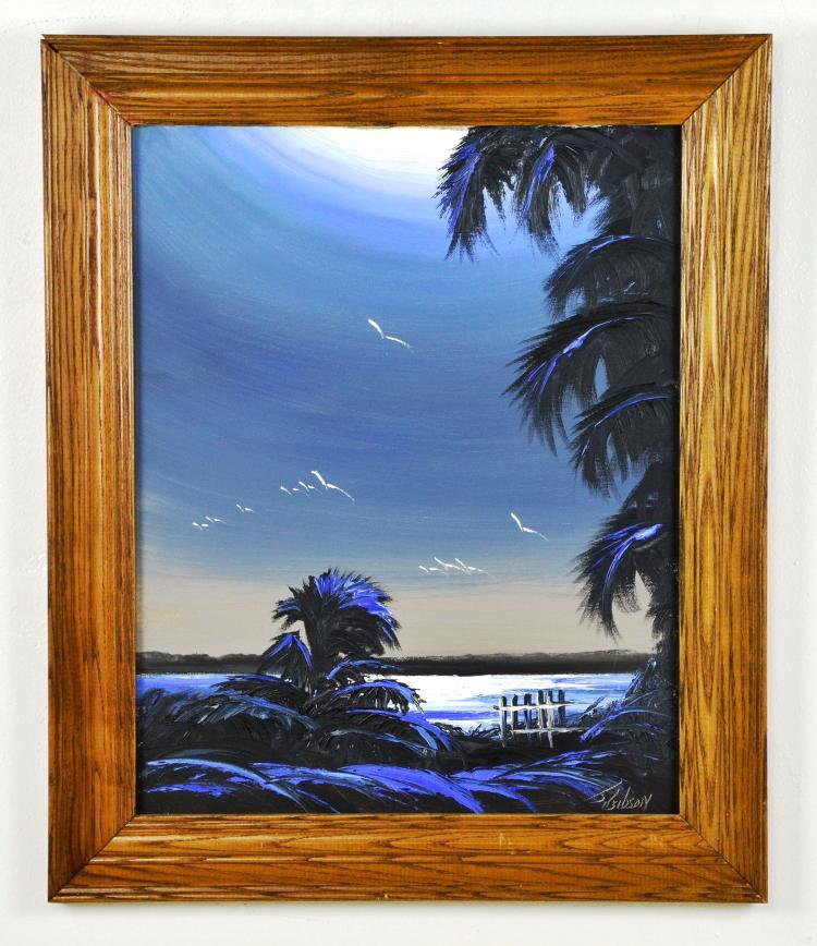 Original Oil on Canvas, by Listed Artist, James Gibson, Original Highwaymen, Florida Landscape
