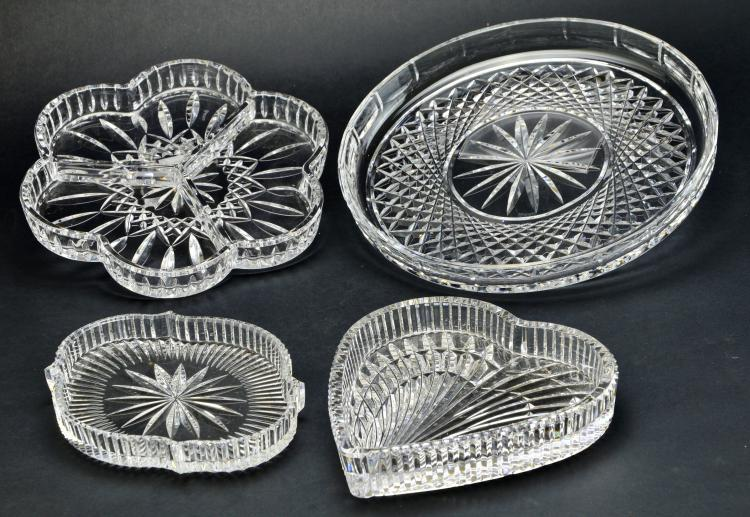 Set of 4 Waterford Crystal Lismore & Complimentary Serving Trays